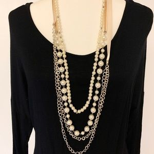 """Jewelry - 3-Chain 21.5"""" Ribbon, Pearl and Silver Necklace"""